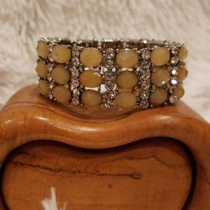 Monet Silver, Rhinestone and Yellow Stone Bracelet